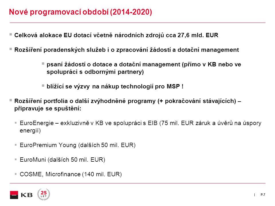 |  Celková alokace EU dotací včetně národních zdrojů cca 27,6 mld. EUR  Rozšíření poradenských služeb i o zpracování žádostí a dotační management 