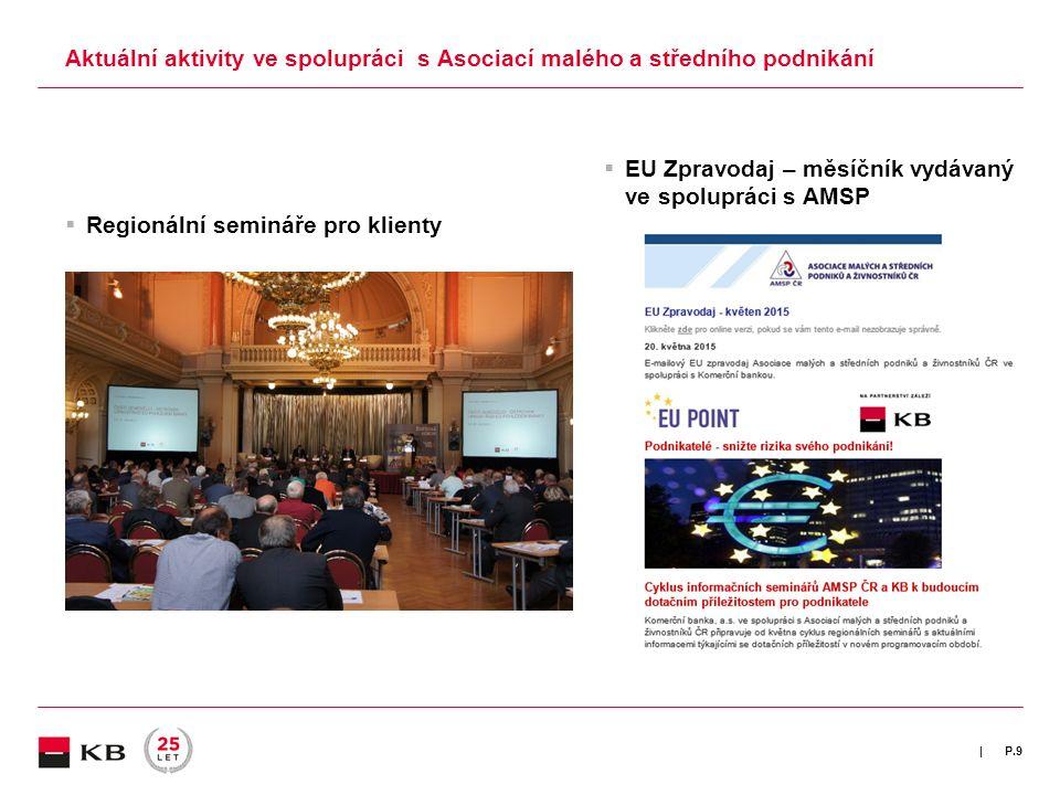 | Aktuální aktivity ve spolupráci s Asociací malého a středního podnikání  Regionální semináře pro klienty  EU Zpravodaj – měsíčník vydávaný ve spolupráci s AMSP P.9
