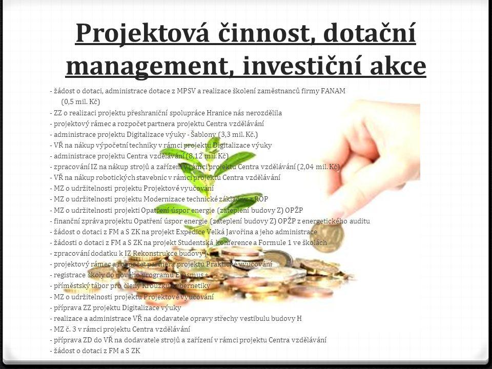 Projektová činnost, dotační management, investiční akce - žádost o dotaci, administrace dotace z MPSV a realizace školení zaměstnanců firmy FANAM (0,5 mil.