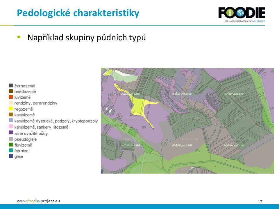 17 www.foodie-project.eu  Například skupiny půdních typů Pedologické charakteristiky