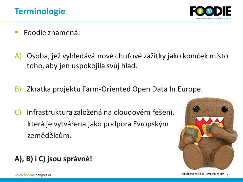 2 www.foodie-project.eu  Foodie znamená: A)Osoba, jež vyhledává nové chuťové zážitky jako koníček místo toho, aby jen uspokojila svůj hlad. B)Zkratka