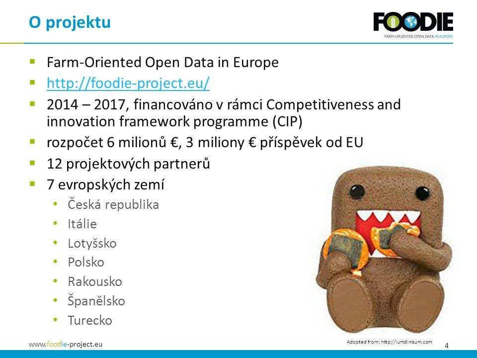 4 www.foodie-project.eu  Farm-Oriented Open Data in Europe  http://foodie-project.eu/ http://foodie-project.eu/  2014 – 2017, financováno v rámci Competitiveness and innovation framework programme (CIP)  rozpočet 6 milionů €, 3 miliony € příspěvek od EU  12 projektových partnerů  7 evropských zemí Česká republika Itálie Lotyšsko Polsko Rakousko Španělsko Turecko O projektu Adopted from: http://lumdimsum.com