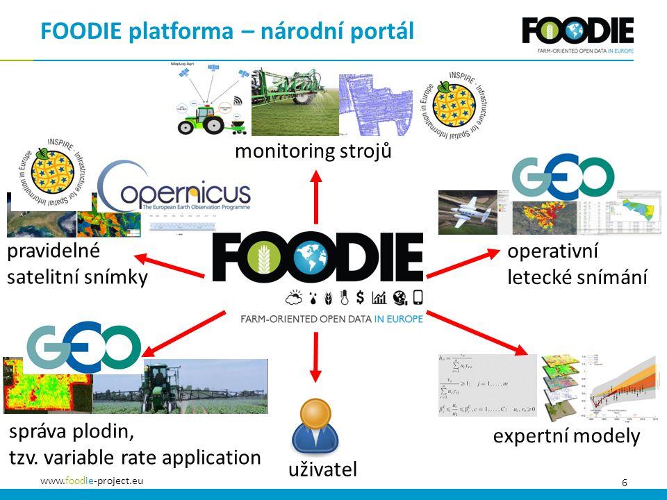 6 www.foodie-project.eu operativní letecké snímání pravidelné satelitní snímky monitoring strojů FOODIE platforma – národní portál správa plodin, tzv.