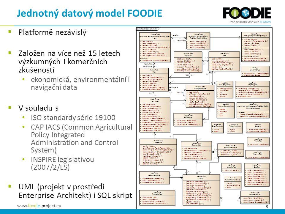 8 www.foodie-project.eu Jednotný datový model FOODIE  Platformě nezávislý  Založen na více než 15 letech výzkumných i komerčních zkušeností ekonomická, environmentální i navigační data  V souladu s ISO standardy série 19100 CAP IACS (Common Agricultural Policy Integrated Administration and Control System) INSPIRE legislativou (2007/2/ES)  UML (projekt v prostředí Enterprise Architekt) i SQL skript