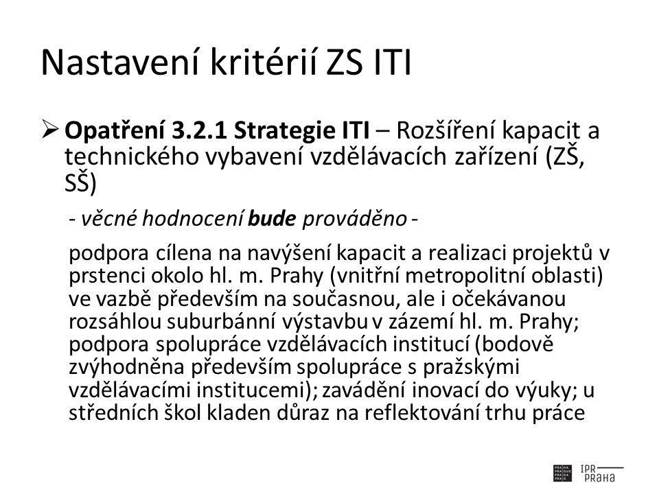 Nastavení kritérií ZS ITI  Opatření 3.2.1 Strategie ITI – Rozšíření kapacit a technického vybavení vzdělávacích zařízení (ZŠ, SŠ) - věcné hodnocení bude prováděno - podpora cílena na navýšení kapacit a realizaci projektů v prstenci okolo hl.