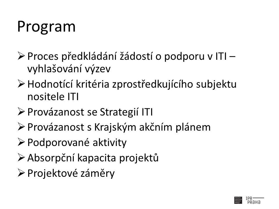 Program  Proces předkládání žádostí o podporu v ITI – vyhlašování výzev  Hodnotící kritéria zprostředkujícího subjektu nositele ITI  Provázanost se Strategií ITI  Provázanost s Krajským akčním plánem  Podporované aktivity  Absorpční kapacita projektů  Projektové záměry