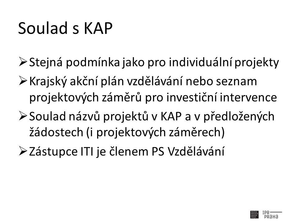 Soulad s KAP  Stejná podmínka jako pro individuální projekty  Krajský akční plán vzdělávání nebo seznam projektových záměrů pro investiční intervence  Soulad názvů projektů v KAP a v předložených žádostech (i projektových záměrech)  Zástupce ITI je členem PS Vzdělávání