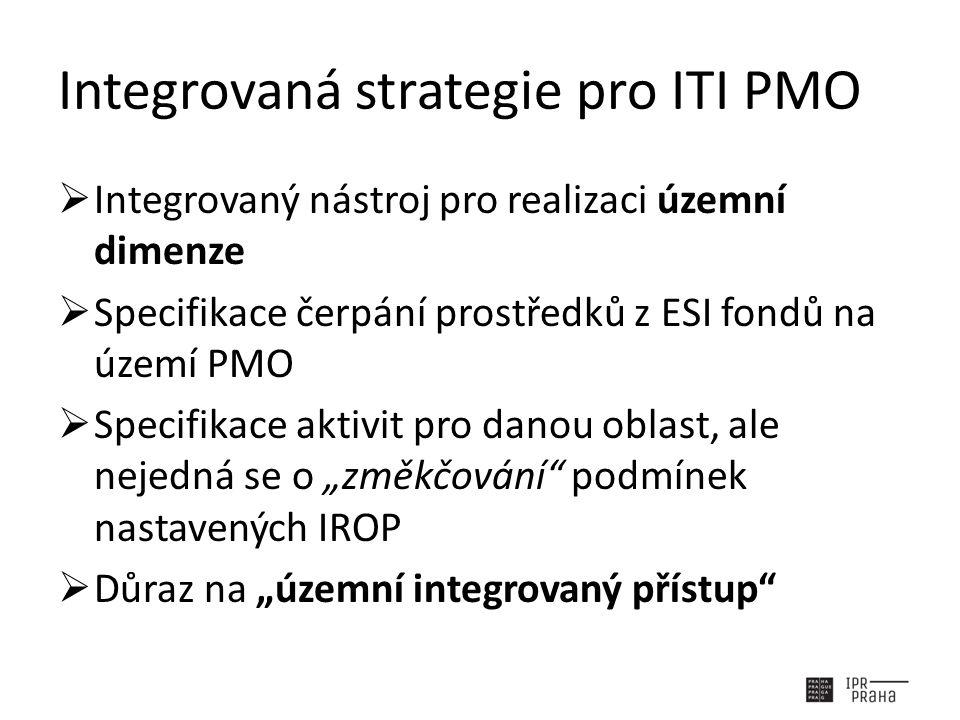 """Integrovaná strategie pro ITI PMO  Integrovaný nástroj pro realizaci územní dimenze  Specifikace čerpání prostředků z ESI fondů na území PMO  Specifikace aktivit pro danou oblast, ale nejedná se o """"změkčování podmínek nastavených IROP  Důraz na """"územní integrovaný přístup"""