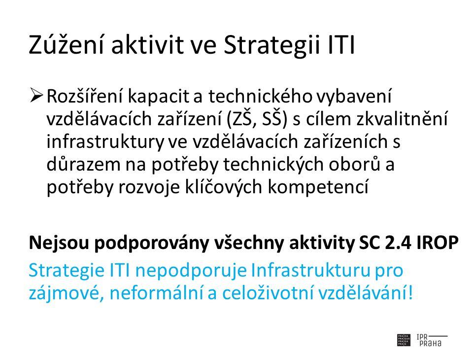 Zúžení aktivit ve Strategii ITI  Rozšíření kapacit a technického vybavení vzdělávacích zařízení (ZŠ, SŠ) s cílem zkvalitnění infrastruktury ve vzdělávacích zařízeních s důrazem na potřeby technických oborů a potřeby rozvoje klíčových kompetencí Nejsou podporovány všechny aktivity SC 2.4 IROP Strategie ITI nepodporuje Infrastrukturu pro zájmové, neformální a celoživotní vzdělávání!