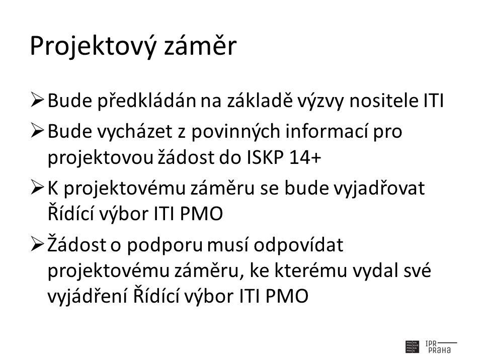 Projektový záměr  Bude předkládán na základě výzvy nositele ITI  Bude vycházet z povinných informací pro projektovou žádost do ISKP 14+  K projektovému záměru se bude vyjadřovat Řídící výbor ITI PMO  Žádost o podporu musí odpovídat projektovému záměru, ke kterému vydal své vyjádření Řídící výbor ITI PMO