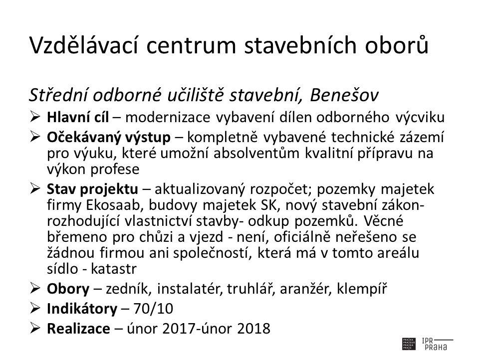 Vzdělávací centrum stavebních oborů Střední odborné učiliště stavební, Benešov  Hlavní cíl – modernizace vybavení dílen odborného výcviku  Očekávaný