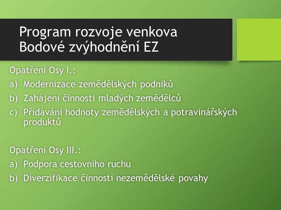 Program rozvoje venkova Bodové zvýhodnění EZ Opatření Osy I.:Opatření Osy I.: a)Modernizace zemědělských podnikůa)Modernizace zemědělských podniků b)Z