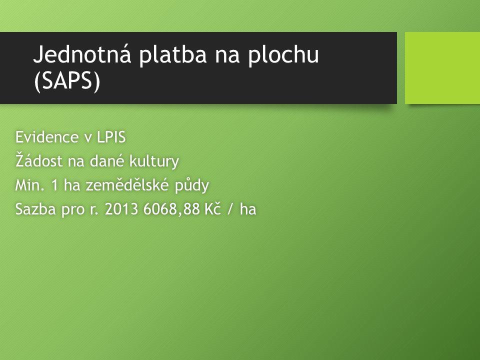 Jednotná platba na plochu (SAPS) Evidence v LPISEvidence v LPIS Žádost na dané kulturyŽádost na dané kultury Min. 1 ha zemědělské půdyMin. 1 ha zemědě