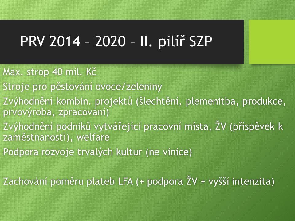 PRV 2014 – 2020 – II. pilíř SZP Max. strop 40 mil. KčMax. strop 40 mil. Kč Stroje pro pěstování ovoce/zeleninyStroje pro pěstování ovoce/zeleniny Zvýh
