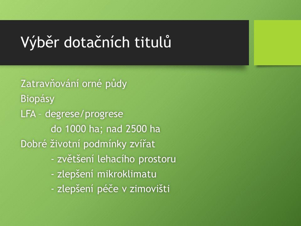 Výběr dotačních titulů Zatravňování orné půdyZatravňování orné půdyBiopásy LFA – degrese/progreseLFA – degrese/progrese do 1000 ha; nad 2500 hado 1000