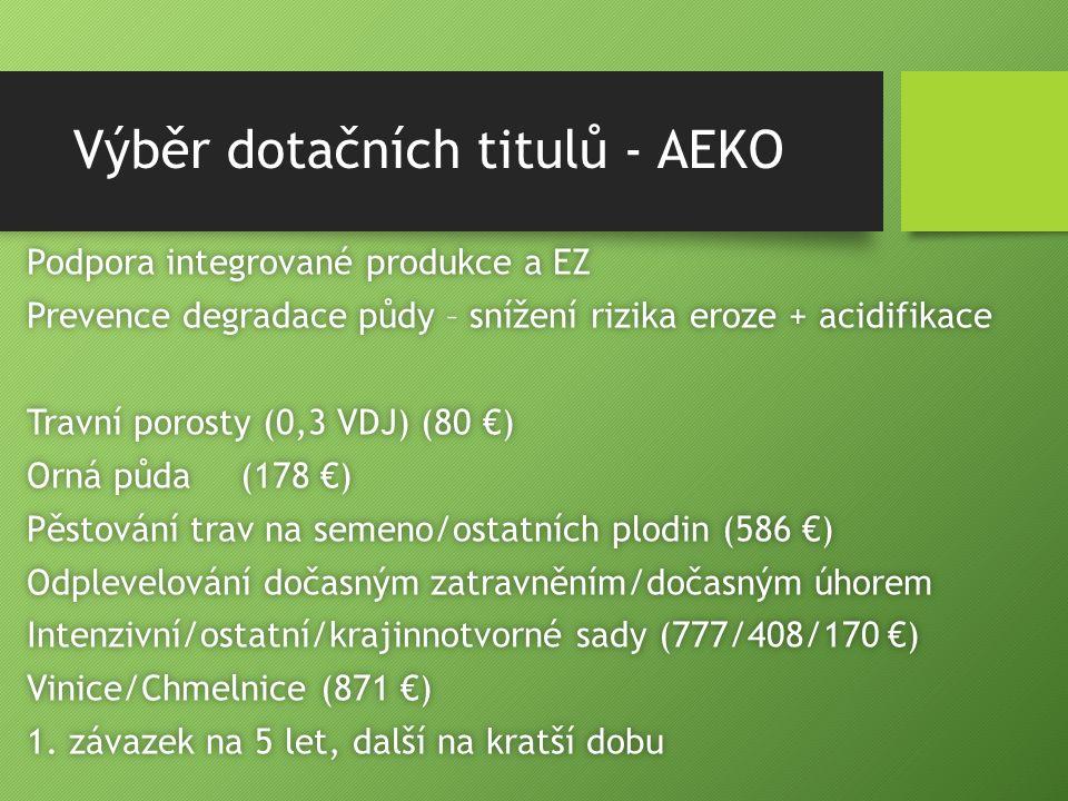 Výběr dotačních titulů - AEKO Podpora integrované produkce a EZPodpora integrované produkce a EZ Prevence degradace půdy – snížení rizika eroze + acidifikacePrevence degradace půdy – snížení rizika eroze + acidifikace Travní porosty (0,3 VDJ) (80 €)Travní porosty (0,3 VDJ) (80 €) Orná půda(178 €)Orná půda(178 €) Pěstování trav na semeno/ostatních plodin (586 €)Pěstování trav na semeno/ostatních plodin (586 €) Odplevelování dočasným zatravněním/dočasným úhoremOdplevelování dočasným zatravněním/dočasným úhorem Intenzivní/ostatní/krajinnotvorné sady (777/408/170 €)Intenzivní/ostatní/krajinnotvorné sady (777/408/170 €) Vinice/Chmelnice (871 €)Vinice/Chmelnice (871 €) 1.
