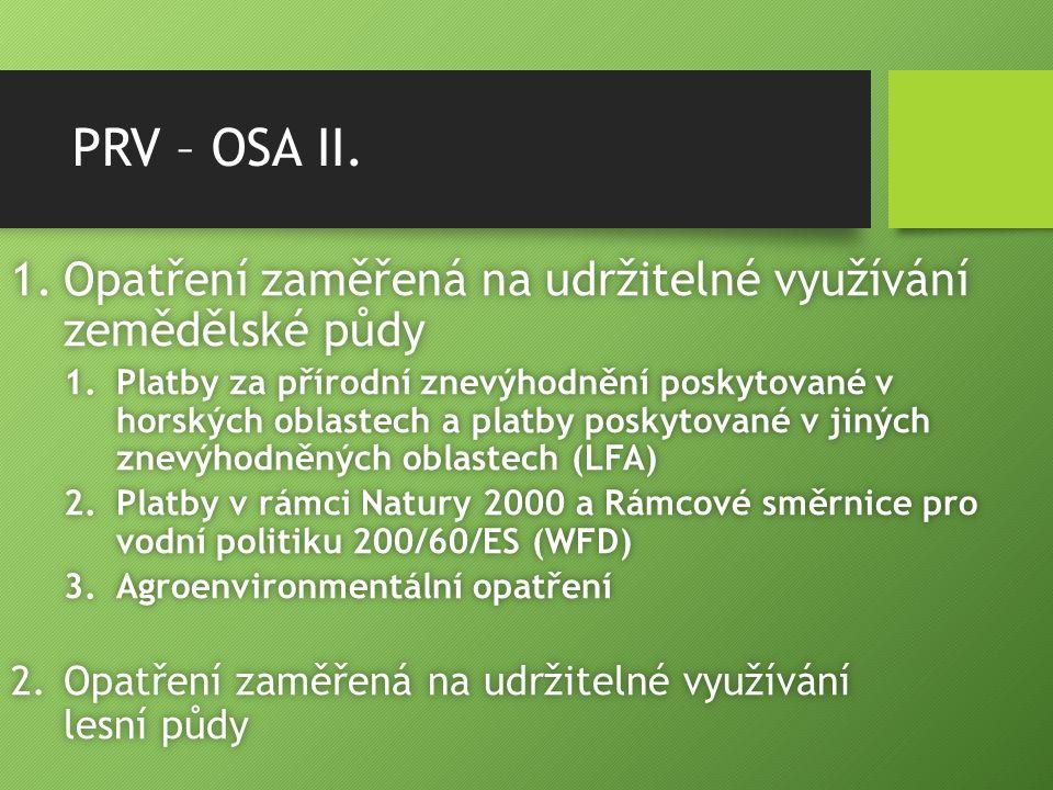 PRV – OSA II. 1.Opatření zaměřená na udržitelné využívání zemědělské půdy 1.Platby za přírodní znevýhodnění poskytované v horských oblastech a platby