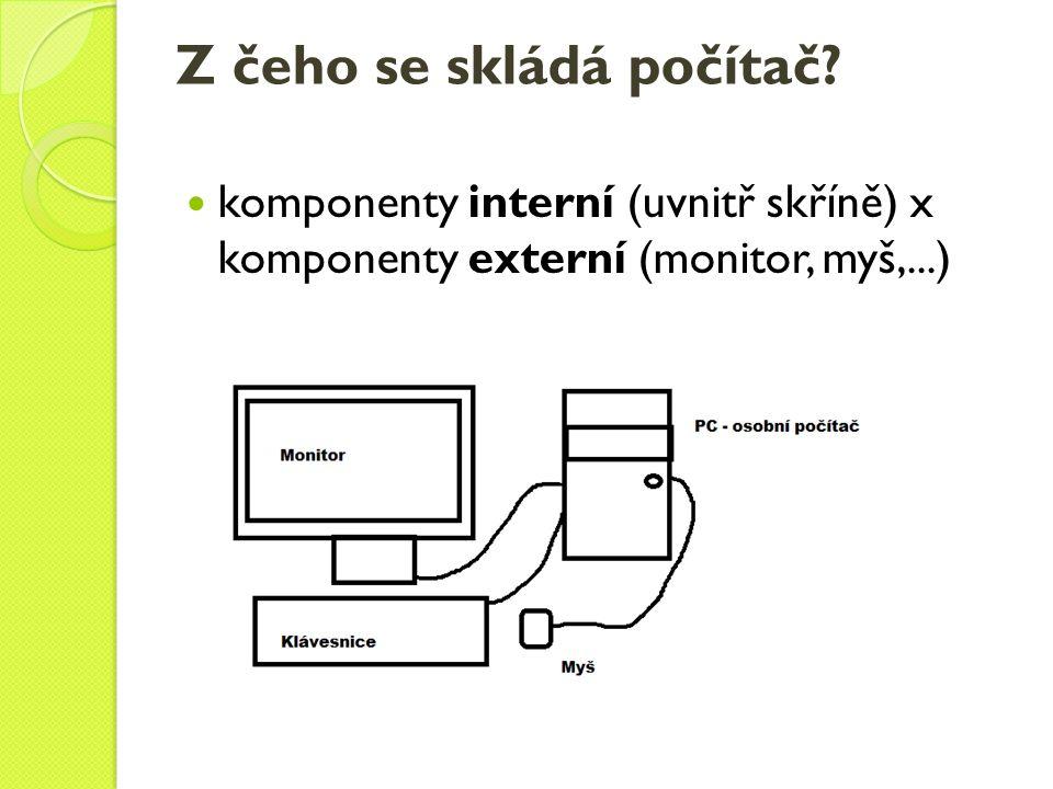 Externí komponenty Monitor – klasický, LCD Klávesnice – Esc – návrat o operaci zpět, F1-F12 – funkční klávesy, alfanumerická část (písmena a číslice), klávesy pro řízení pohybu kurzoru, numerická část (jen číslice), indikátory – ukazují co je na klávesnici zapnuté.