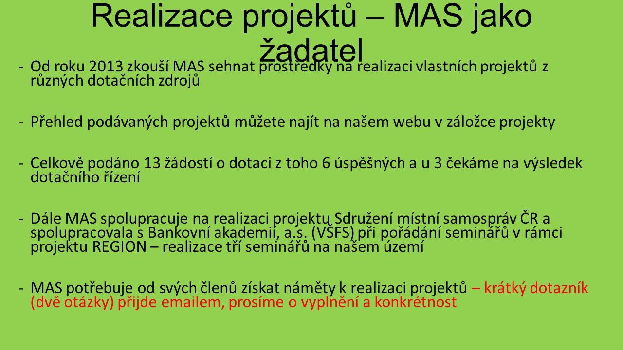 Realizace projektů – MAS jako žadatel -Od roku 2013 zkouší MAS sehnat prostředky na realizaci vlastních projektů z různých dotačních zdrojů -Přehled podávaných projektů můžete najít na našem webu v záložce projekty -Celkově podáno 13 žádostí o dotaci z toho 6 úspěšných a u 3 čekáme na výsledek dotačního řízení -Dále MAS spolupracuje na realizaci projektu Sdružení místní samospráv ČR a spolupracovala s Bankovní akademií, a.s.