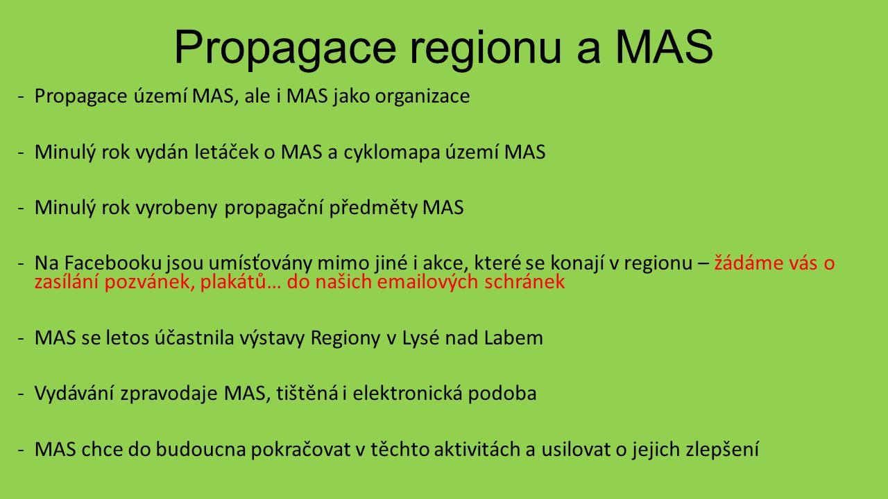 Propagace regionu a MAS -Propagace území MAS, ale i MAS jako organizace -Minulý rok vydán letáček o MAS a cyklomapa území MAS -Minulý rok vyrobeny propagační předměty MAS -Na Facebooku jsou umísťovány mimo jiné i akce, které se konají v regionu – žádáme vás o zasílání pozvánek, plakátů… do našich emailových schránek -MAS se letos účastnila výstavy Regiony v Lysé nad Labem -Vydávání zpravodaje MAS, tištěná i elektronická podoba -MAS chce do budoucna pokračovat v těchto aktivitách a usilovat o jejich zlepšení