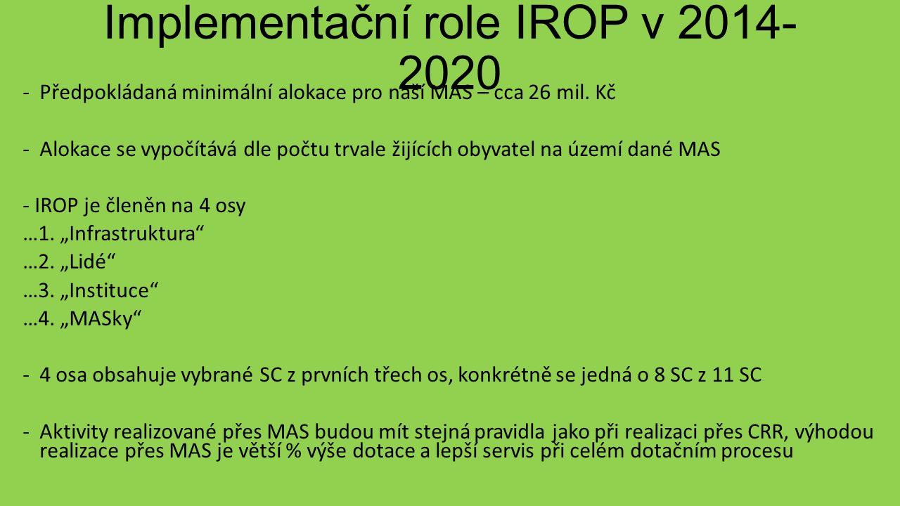 Implementační role IROP v 2014- 2020 -Předpokládaná minimální alokace pro naší MAS – cca 26 mil.