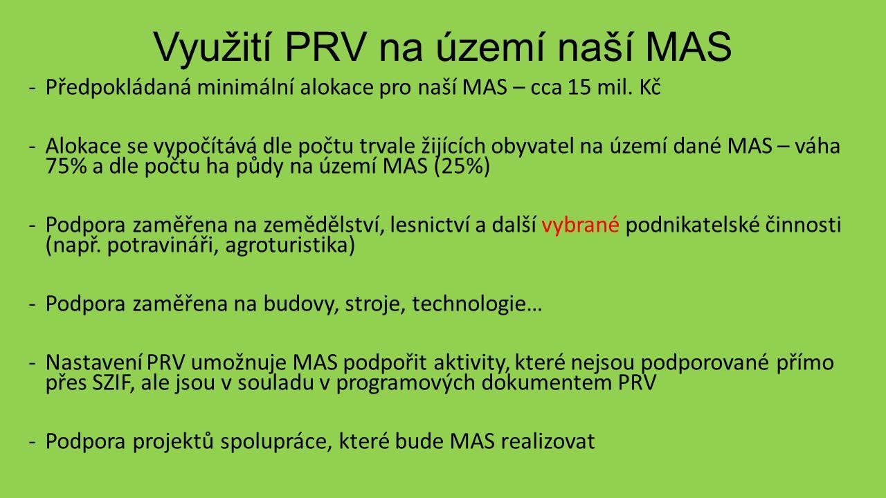 Využití PRV na území naší MAS -Předpokládaná minimální alokace pro naší MAS – cca 15 mil.