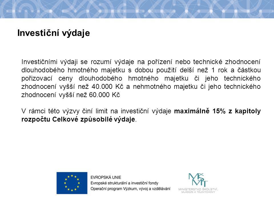 Název kapitoly Název podkapitoly Text Investiční výdaje určené pro výzvu Budování kapacit I.