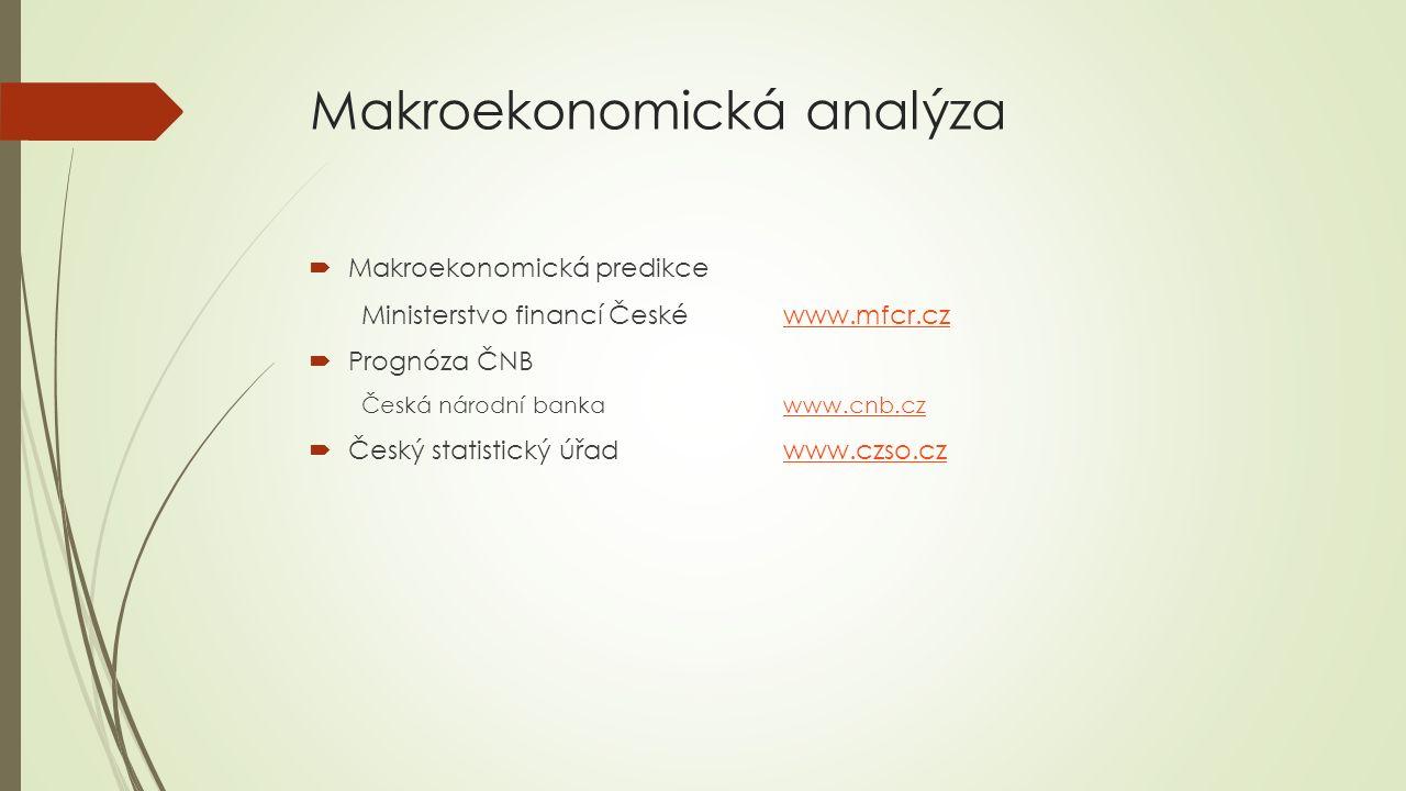 Makroekonomická analýza  Makroekonomická predikce Ministerstvo financí České www.mfcr.czwww.mfcr.cz  Prognóza ČNB Česká národní bankawww.cnb.czwww.cnb.cz  Český statistický úřadwww.czso.czwww.czso.cz