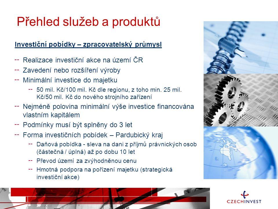 Investiční pobídky – zpracovatelský průmysl ╌ Realizace investiční akce na území ČR ╌ Zavedení nebo rozšíření výroby ╌ Minimální investice do majetku ╌ 50 mil.