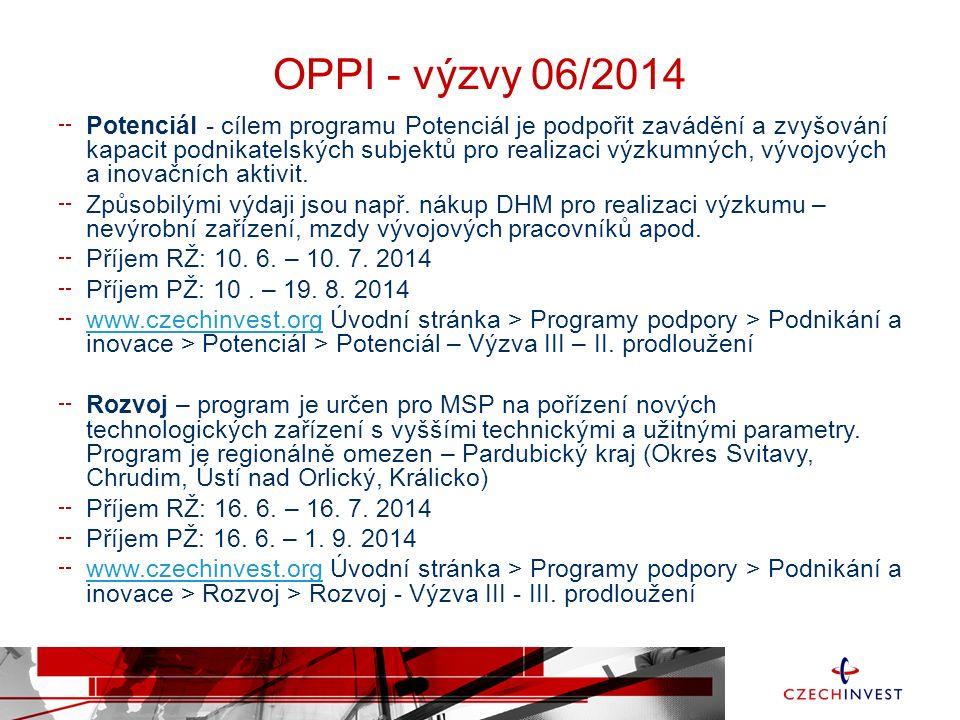 OPPI - výzvy 06/2014 Potenciál - cílem programu Potenciál je podpořit zavádění a zvyšování kapacit podnikatelských subjektů pro realizaci výzkumných, vývojových a inovačních aktivit.