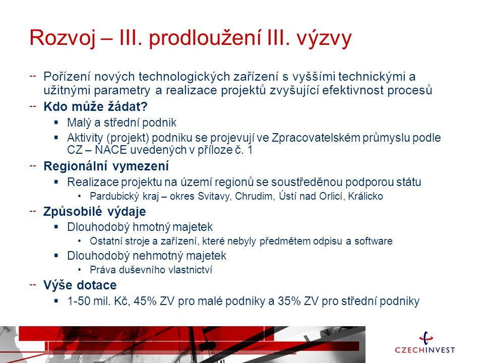 Operační program Podnikání a inovace pro konkurenceschopnost - OPPIK Programovací období: 2014 – 2020 Míra podpory: malý podnik 45%, střední 35% velký 25% Prioritní osy: 1.