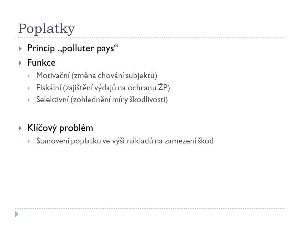 """Poplatky  Princip """"polluter pays  Funkce  Motivační (změna chování subjektů)  Fiskální (zajištění výdajů na ochranu ŽP)  Selektivní (zohlednění míry škodlivosti)  Klíčový problém  Stanovení poplatku ve výši nákladů na zamezení škod"""