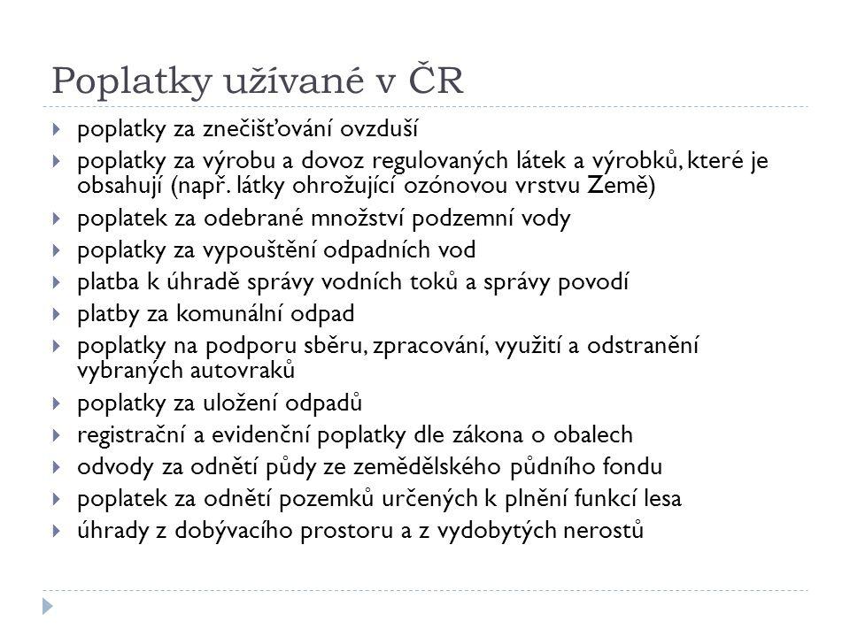 Poplatky užívané v ČR  poplatky za znečišťování ovzduší  poplatky za výrobu a dovoz regulovaných látek a výrobků, které je obsahují (např.