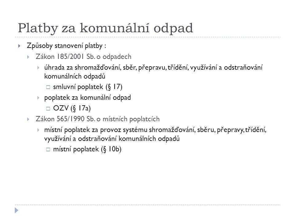 Platby za komunální odpad  Způsoby stanovení platby :  Zákon 185/2001 Sb.