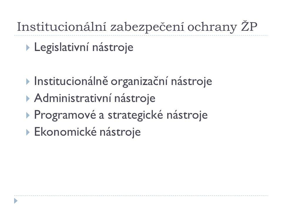 Institucionální zabezpečení ochrany ŽP  Legislativní nástroje  Institucionálně organizační nástroje  Administrativní nástroje  Programové a strategické nástroje  Ekonomické nástroje