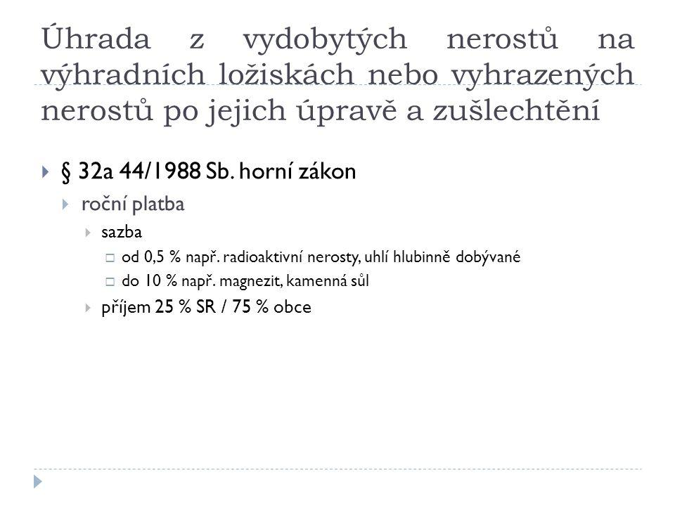 Úhrada z vydobytých nerostů na výhradních ložiskách nebo vyhrazených nerostů po jejich úpravě a zušlechtění  § 32a 44/1988 Sb.