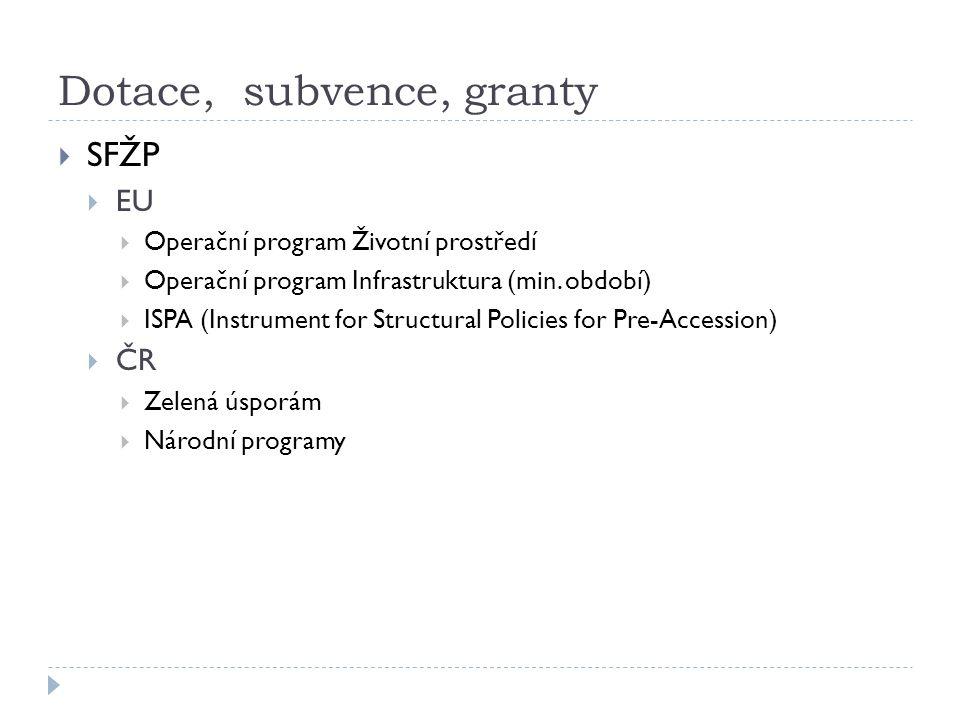 Dotace, subvence, granty  SFŽP  EU  Operační program Životní prostředí  Operační program Infrastruktura (min.