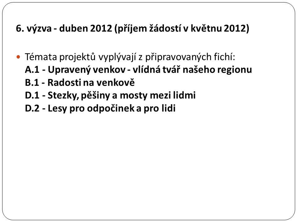 6. výzva - duben 2012 (příjem žádostí v květnu 2012) Témata projektů vyplývají z připravovaných fichí: A.1 - Upravený venkov - vlídná tvář našeho regi