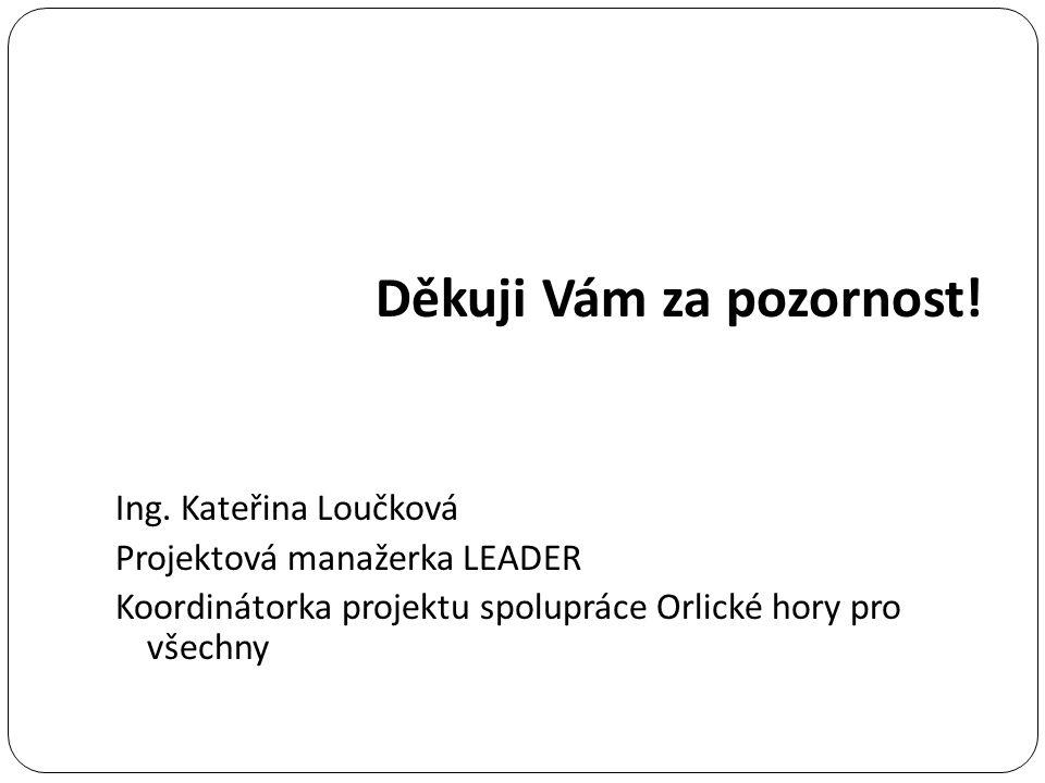 Děkuji Vám za pozornost! Ing. Kateřina Loučková Projektová manažerka LEADER Koordinátorka projektu spolupráce Orlické hory pro všechny