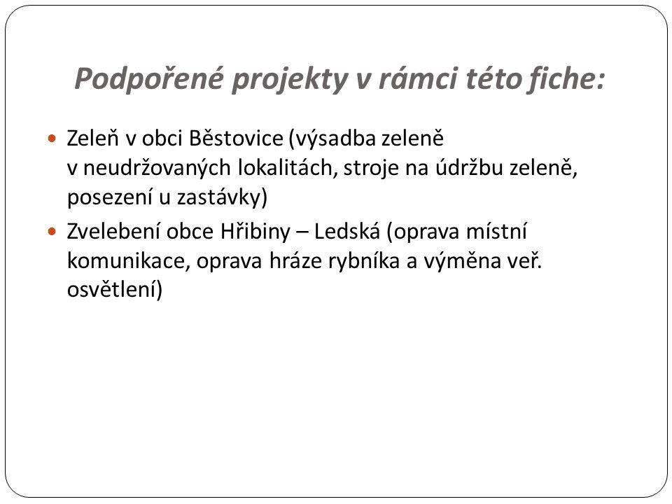 Podpořené projekty v rámci této fiche: Zeleň v obci Běstovice (výsadba zeleně v neudržovaných lokalitách, stroje na údržbu zeleně, posezení u zastávky