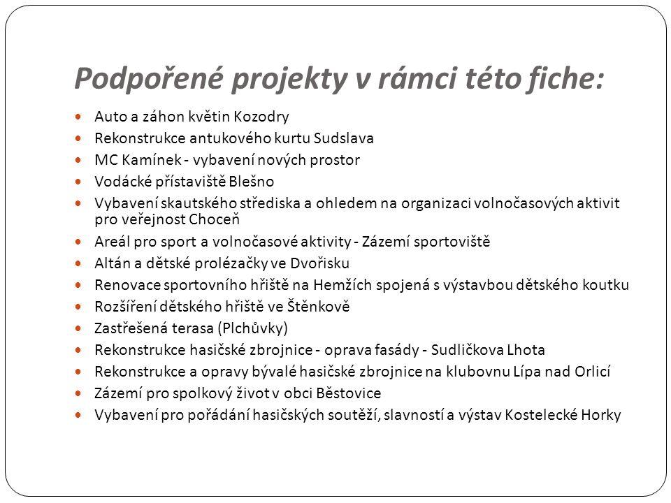 Podpořené projekty v rámci této fiche: Auto a záhon květin Kozodry Rekonstrukce antukového kurtu Sudslava MC Kamínek - vybavení nových prostor Vodácké