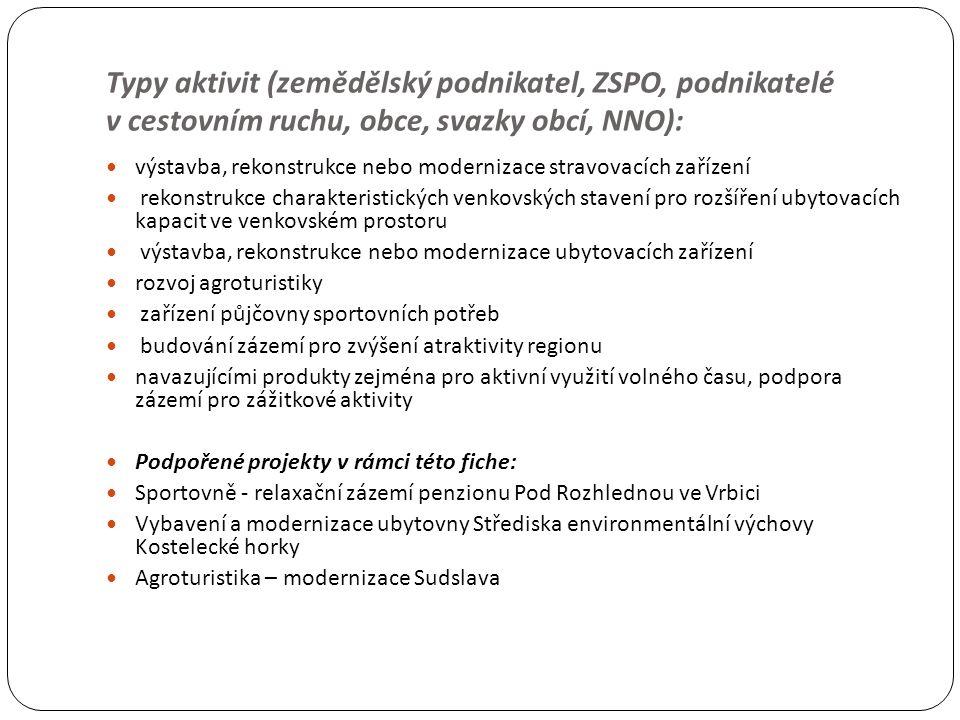 Typy aktivit (zemědělský podnikatel, ZSPO, podnikatelé v cestovním ruchu, obce, svazky obcí, NNO): výstavba, rekonstrukce nebo modernizace stravovacíc