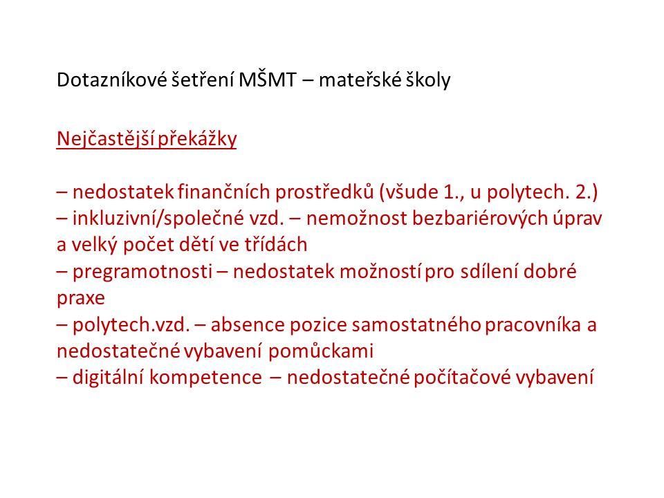 Dotazníkové šetření MŠMT – mateřské školy Nejčastější překážky – nedostatek finančních prostředků (všude 1., u polytech. 2.) – inkluzivní/společné vzd