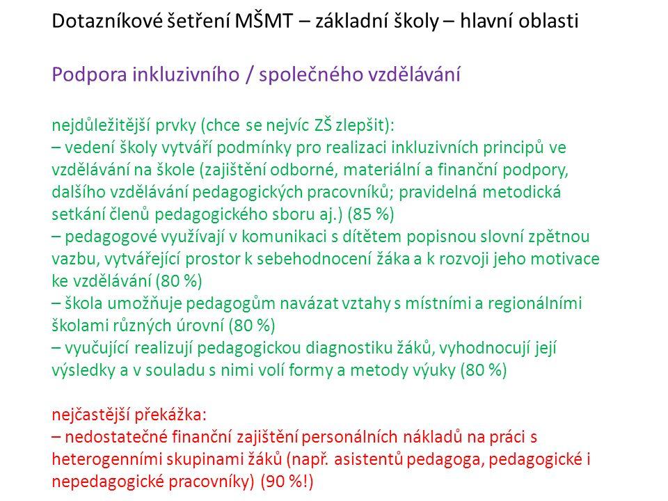 Dotazníkové šetření MŠMT – základní školy – hlavní oblasti Podpora inkluzivního / společného vzdělávání nejdůležitější prvky (chce se nejvíc ZŠ zlepši