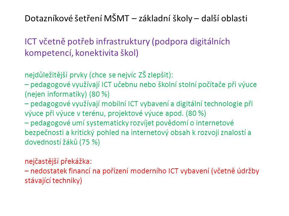 Dotazníkové šetření MŠMT – základní školy – další oblasti ICT včetně potřeb infrastruktury (podpora digitálních kompetencí, konektivita škol) nejdůležitější prvky (chce se nejvíc ZŠ zlepšit): – pedagogové využívají ICT učebnu nebo školní stolní počítače při výuce (nejen informatiky) (80 %) – pedagogové využívají mobilní ICT vybavení a digitální technologie při výuce při výuce v terénu, projektové výuce apod.