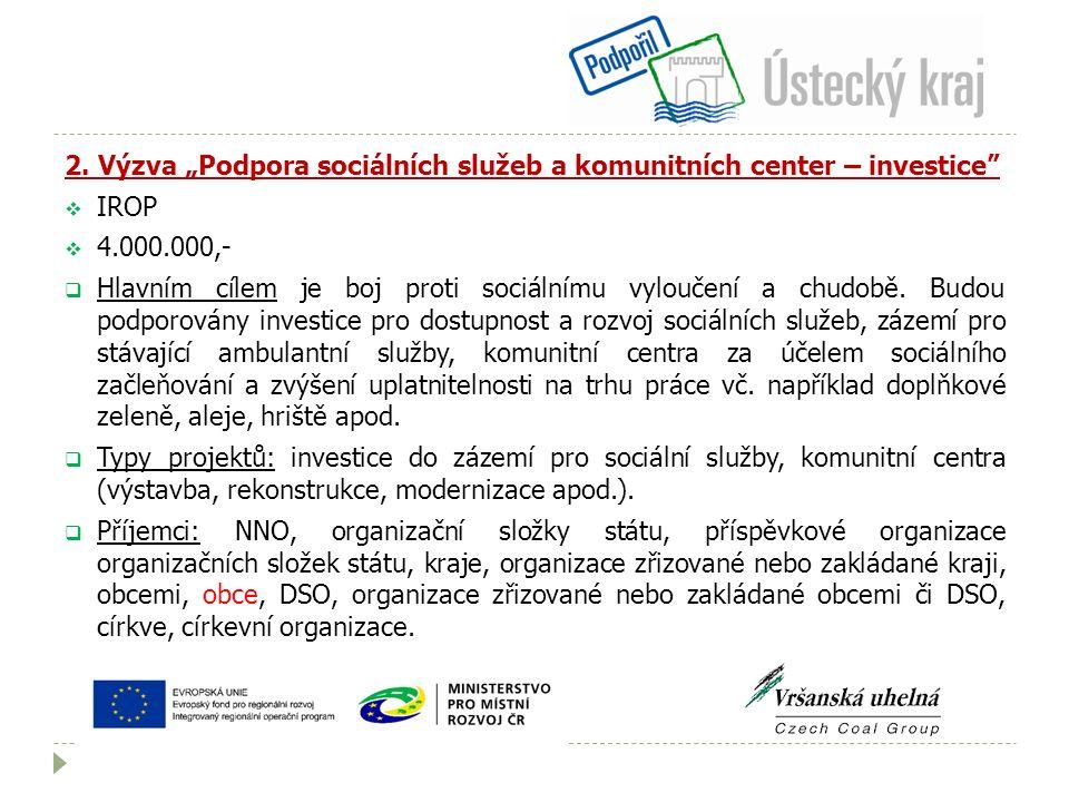 """2. Výzva """"Podpora sociálních služeb a komunitních center – investice""""  IROP  4.000.000,-  Hlavním cílem je boj proti sociálnímu vyloučení a chudobě"""