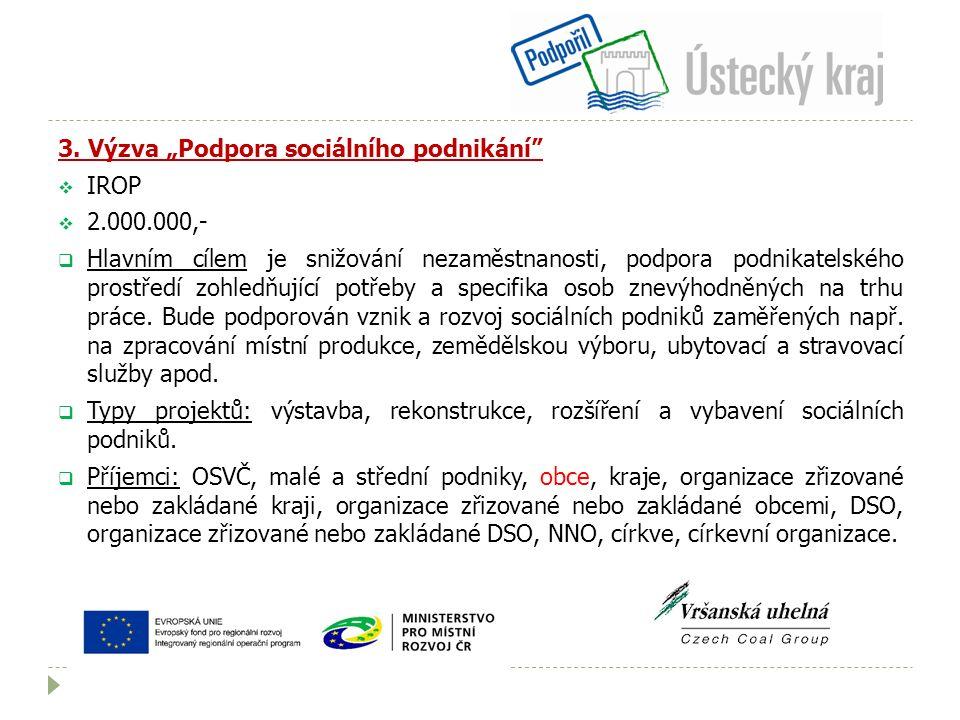 """3. Výzva """"Podpora sociálního podnikání""""  IROP  2.000.000,-  Hlavním cílem je snižování nezaměstnanosti, podpora podnikatelského prostředí zohledňuj"""