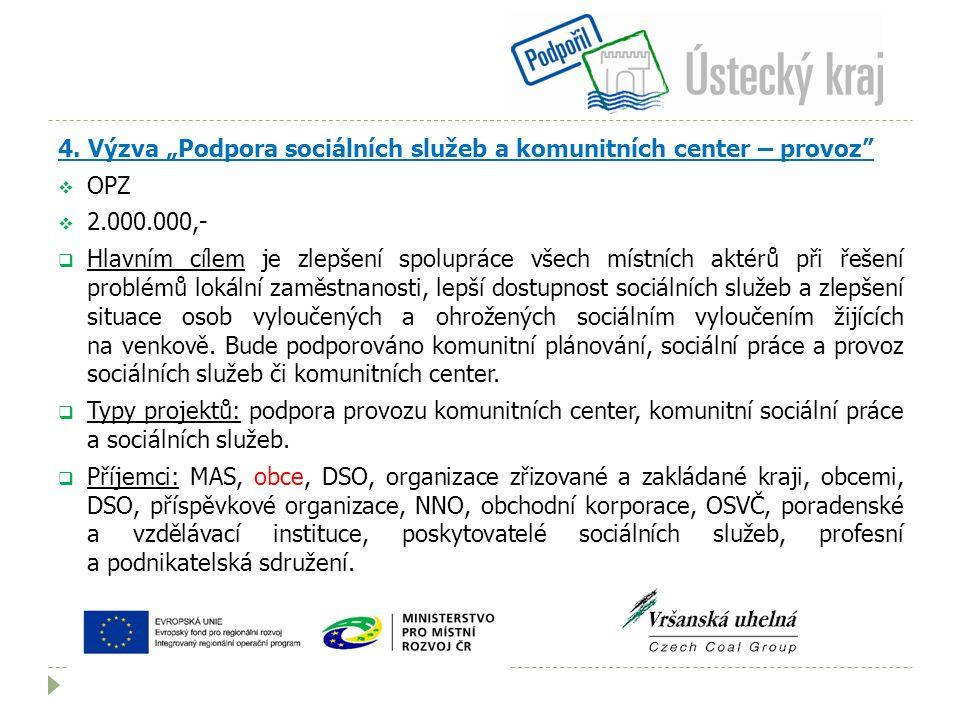 """4. Výzva """"Podpora sociálních služeb a komunitních center – provoz""""  OPZ  2.000.000,-  Hlavním cílem je zlepšení spolupráce všech místních aktérů př"""