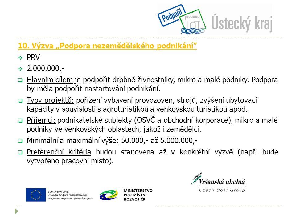"""10. Výzva """"Podpora nezemědělského podnikání""""  PRV  2.000.000,-  Hlavním cílem je podpořit drobné živnostníky, mikro a malé podniky. Podpora by měla"""