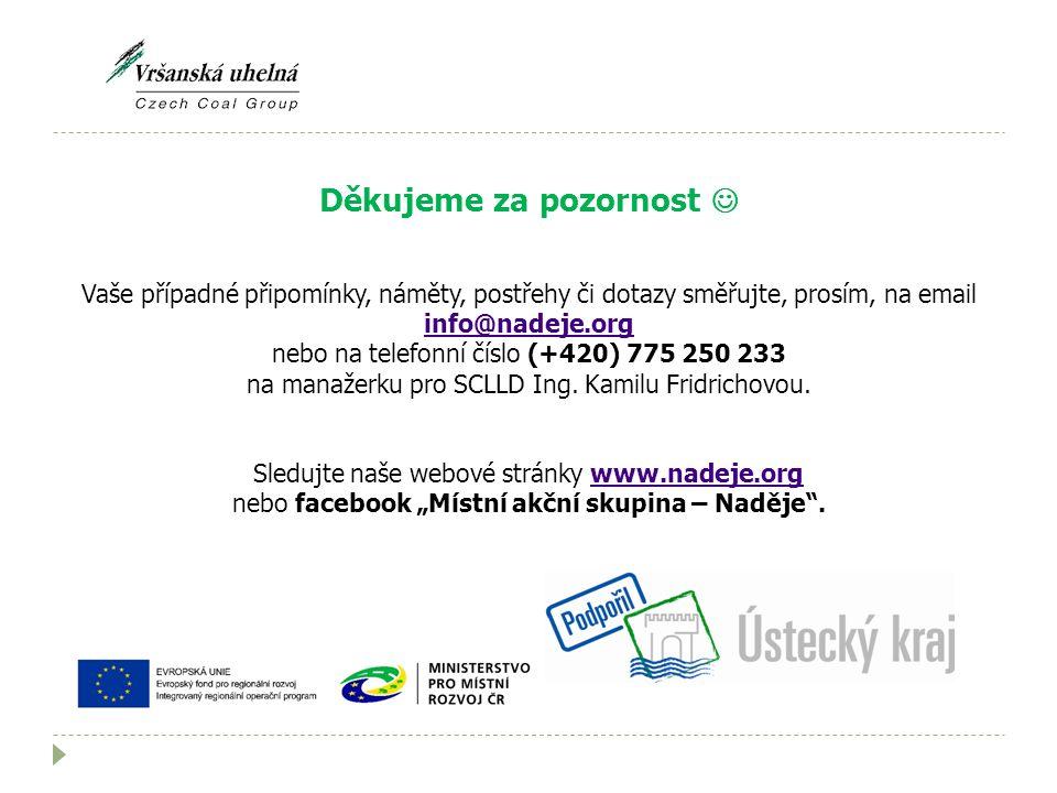 Děkujeme za pozornost Vaše případné připomínky, náměty, postřehy či dotazy směřujte, prosím, na email info@nadeje.org info@nadeje.org nebo na telefonní číslo (+420) 775 250 233 na manažerku pro SCLLD Ing.